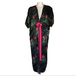 Vintage Robe House Coat Velvet Burnout Rose Print